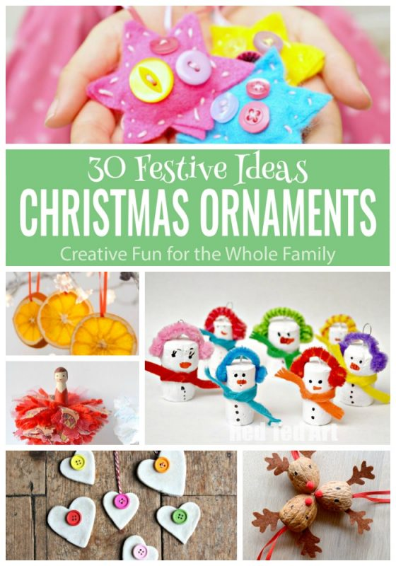 30 Wonderful Christmas Ornaments - to download - all in one place. The ideas are group by kids age and on individual pages, which make great worksheets. Create a treasure trove of keepsakes this Christmas