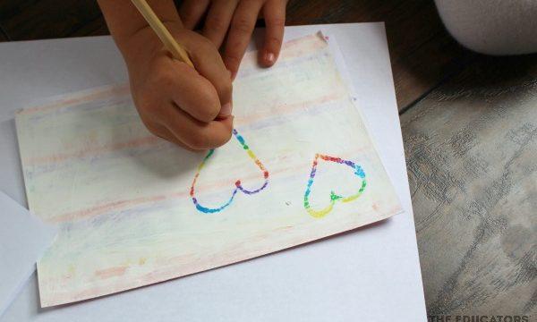 DIY Crayon Scratch Art Hearts