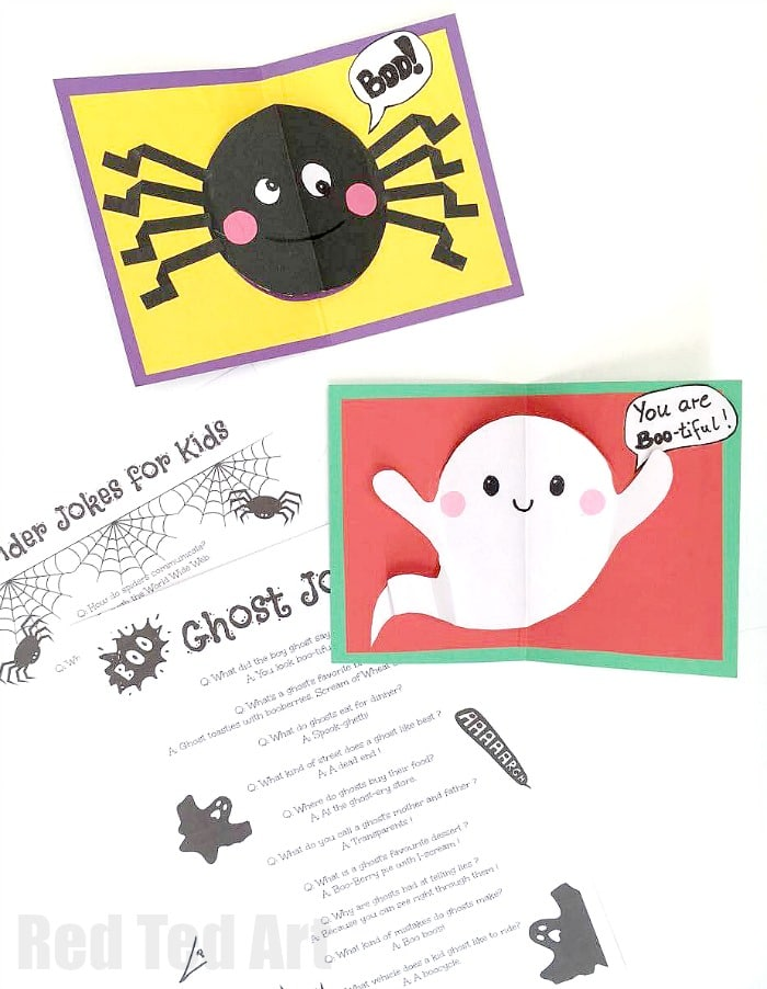 easy halloween pop up cards for kids includes fun spider and ghost jokes for kids