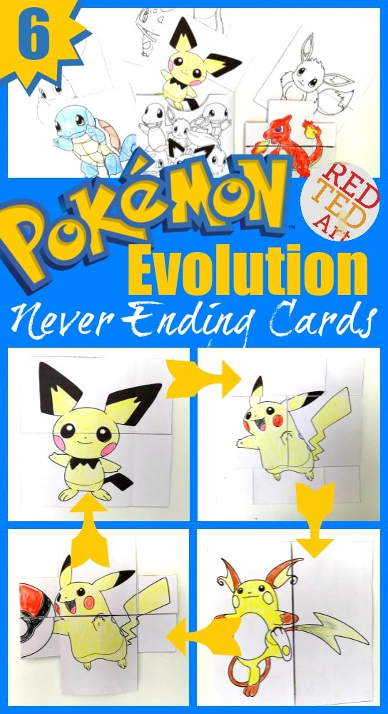Fun with DIY Pokemon Evolution Cards. Print, assemble, colour and watch them change!! Great DIY cards to send or fun fidget toys for Pokemon Lovers!