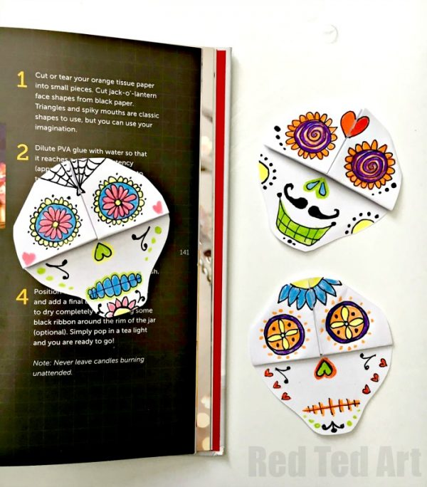 Fabulous DIY Sugar Skull Bookmark Corners. Get Arty and have fun with Day of the Dead Doodling. Great Day of the Dead Corner Bookmark Design