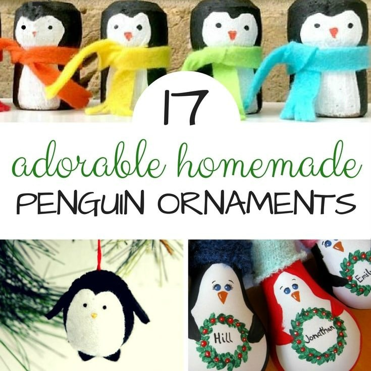 "Gorgeous Homemade Penguin Ornaments DIYs - we do love all things handmade at Christmas.. and these darling Penguin Ornaments will look great on the Christmas Tree of for brightening up the Winter months on a ""Winter Tree"". Lovely Penguin Crafts to make!"