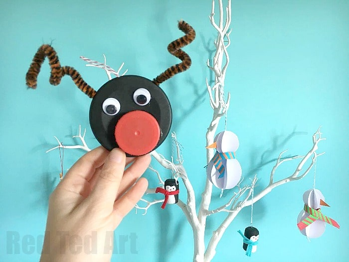 Bottle Cap Rudolph Ornament Red Ted Art