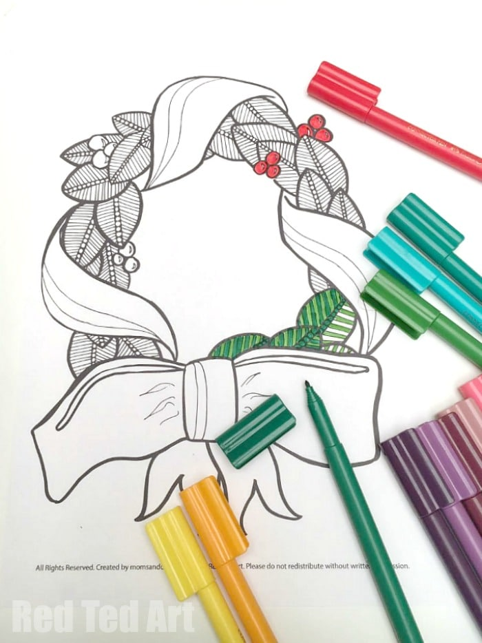 Christmas Wreath Coloring Pages for Adults - happy coloring!!