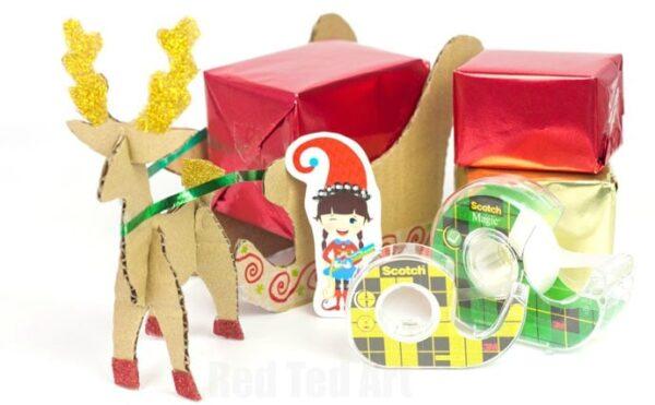 Reindeer Sleigh Centre Piece made from Cardboard