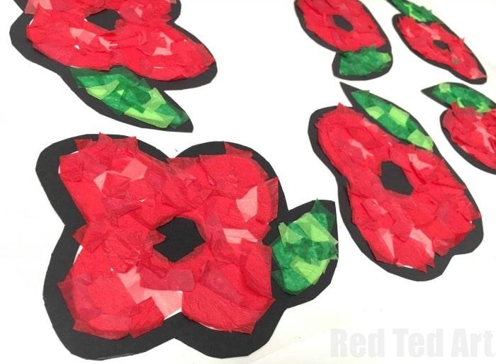 Poppy suncatchers for preschoolers red ted art 39 s blog for Veterans day poppy craft