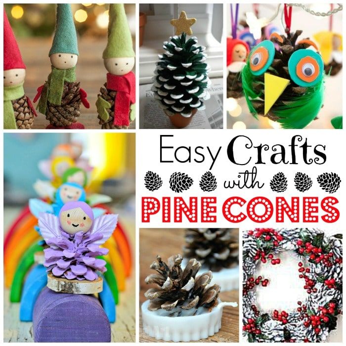 Pine cone Crafts for Kids. Great Craft ideas for Pinecones for Kids. How to craft with pine cones. Easy Autumn Crafts for Kids.