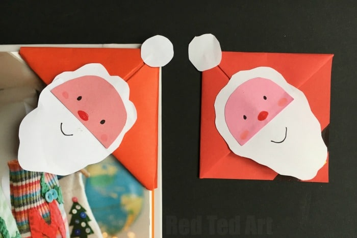 Super simple and fun DIY Santa Bookmark Corner. How cute is this DIY Bookmark Design? Perfect for the holiday season and another simple and easy Corner Bookmark Design from Red Ted Art. LOVE Father Christmas! #Cornerbookmarks #bookmarks #santa #santacraft #papercrafts #fatherchristmas #kids