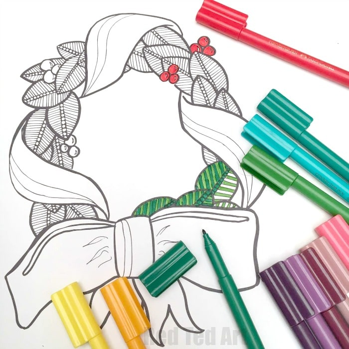Christmas Wreath Coloring Pages for Grown Ups , Red Ted Art