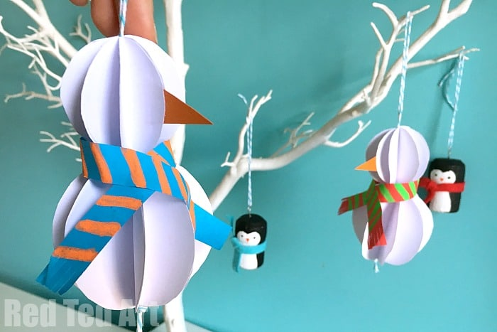 easy paper snowman ornaments - Easy Paper Christmas Decorations