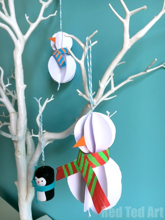 oh so gorgeous and surprisingly easy paper snowman ornament diy for you to try today - Easy Paper Christmas Decorations