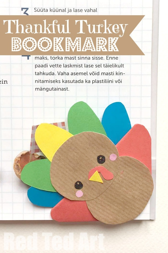 Seriously cute Turkey Bookmark Corner for Thanksgiving. A cute little DIY for the kids (or grown ups to make and give). Use the feathers to write thankfulness messages. Just lovely. Hooray for Corner Bookmark Designs at Thanksgiving!