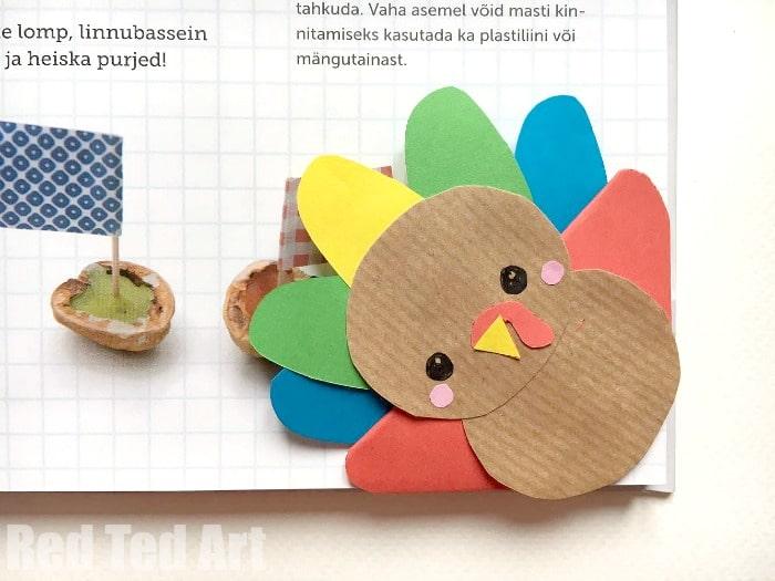 Turkey bookmark corner diy red ted art 39 s blog for Diy thanksgiving crafts