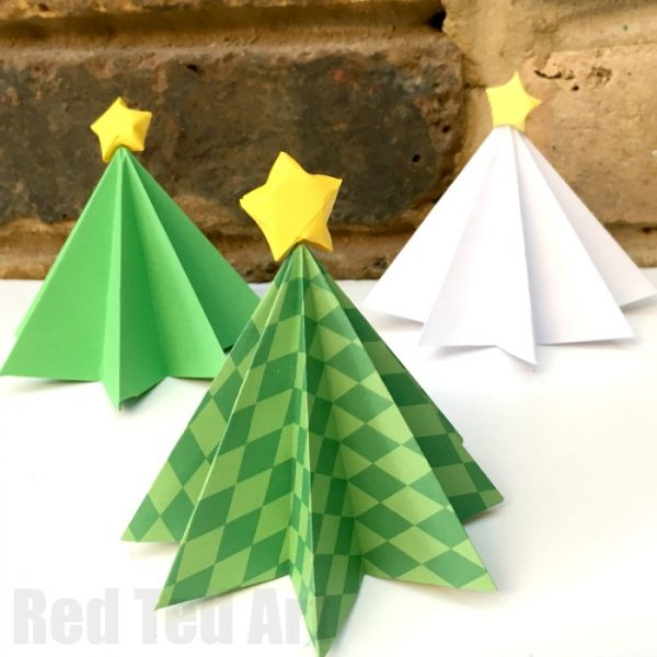 Paper Christmas Tree.Easy Origami Christmas Tree Diy Red Ted Art