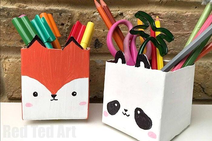 Milk Carton Pen Pot Crafts Red Ted Art S Blog