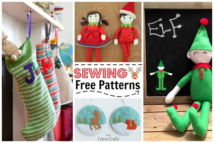 Kids Sewing Projects. If your kids like to sew or you plan to teach them to sew, check out these super duper CUTE Christmas Sewing Projects for Kids. ARen't they adorable? Fabulous free sewing patterns for Christmas! #sewing #freepatterns #sewingpatterns #christmas