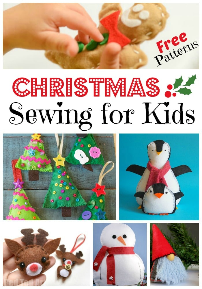 Kids Sewing Projects. If your kids like to sew or you plan to teach them to sew, check out these super duper CUTE Christmas Sewing Projects for Kids. ARen't they adorable? Fabulous free sewing patterns for Christmas! #christmas #holidaysewing #sewing #sewingpatterns #teachingkidstosew