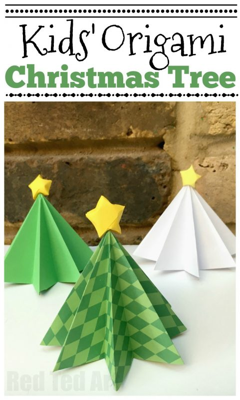 Origami Christmas Tree - here is a simple Paper Tree that will add to your Christmas Decor! Made from green or white paper these trees are super cute. Get the kids to decorate them too! #christmastree #paperchristmastree #origami #origamichristmastree #papercrafts #papercraftskids