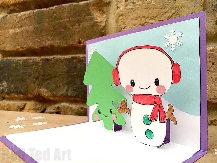 Snowman Christmas Cards Ideas.Easy Snowman Pop Up Card Red Ted Art