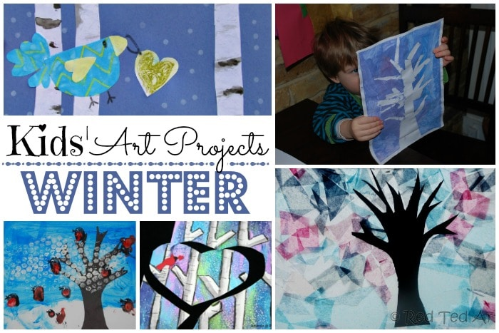 Easy Winter Crafts for Kids - wonderful Winter Art Projects for Kids. Explore the four seasons, create wonderful birch tree and winter tree artwork. Love all those blues, purples and pinks! #Winter #WinterCrafts #Kidscrafts #art #winterart