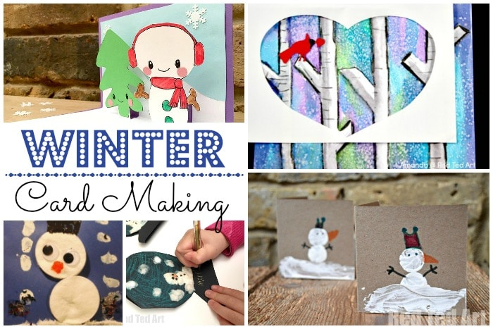 Easy Winter Crafts for Kids - Winter Card Designs - these make perfect Thank You cards in the New Year or wonderful Winter themed greeting or birthday cards for kids to make! #Winter #WinterCrafts #Kidscrafts #cards #thankyoucards