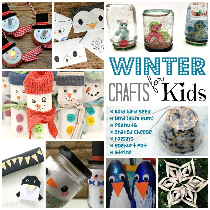 Easy Winter Crafts for Kids - a fantastic selection of cute winter crafts for kids. Stuck indoors on snow days? Need an easy indoor activity for kids? Look no further. Many easy and cute to make winter crafts using every day craft supplies. #Winter #WinterCrafts #Kidscrafts