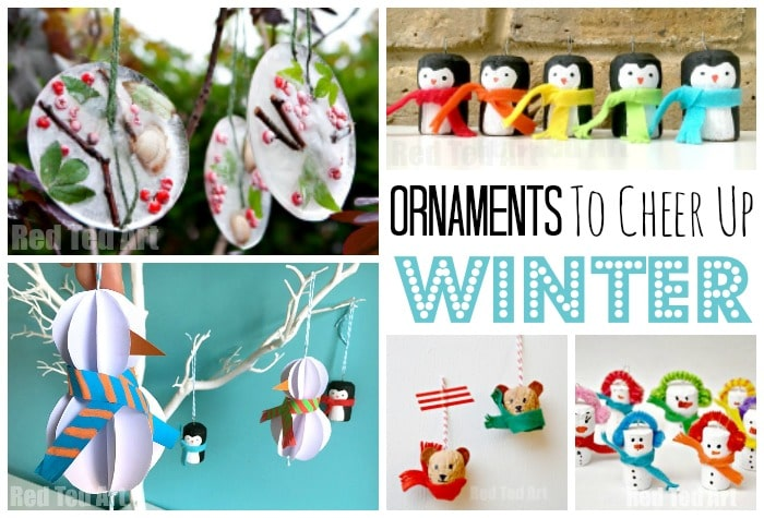 Easy Winter Crafts for Kids - A great set of Winter Ornaments that let us decorate beyond Christmas. Avoid the bleakness of January and February with these fabulous Winter Ornament DIYs