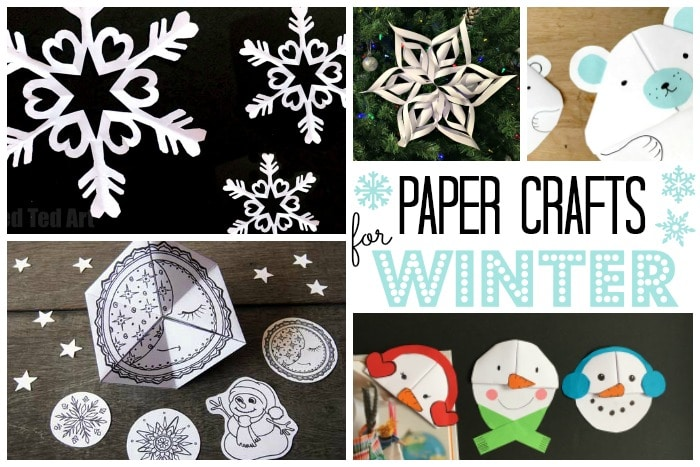 Easy Winter Crafts for Kids - here is a selection of Winter Paper Crafts for kids. We love paper, so inexpensive and yet so versatile. Make decorations, paper toys, ornaments and bookmarks. Lovely Winter Ideas for kids #Winter #WinterCrafts #Kidscrafts #papercrafts #printables