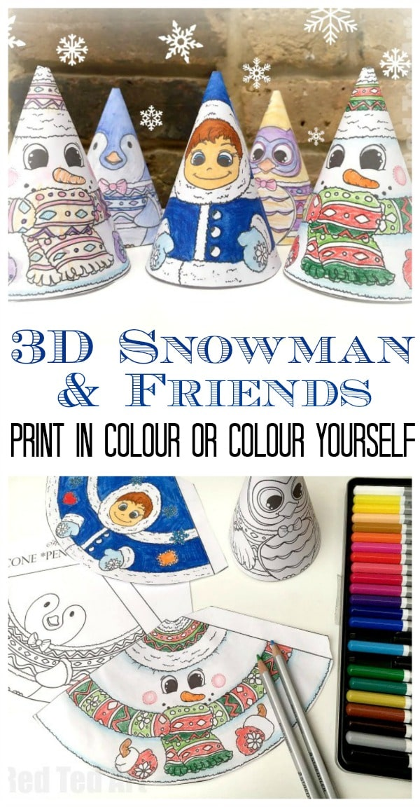 Adorable 3D Snowman coloring page for kids. An adorable Christmas Printable or Winter Printable for kids. Choose the 3D Snowman printable or one of his 3 friends: Penguin, Owl or Eskimo. Each one cuter than the next. My kids couldn't get enough!