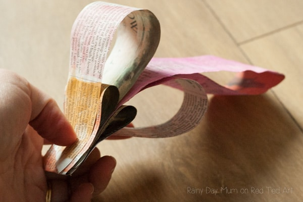 3D Painted Newspaper Heart Bunting-5