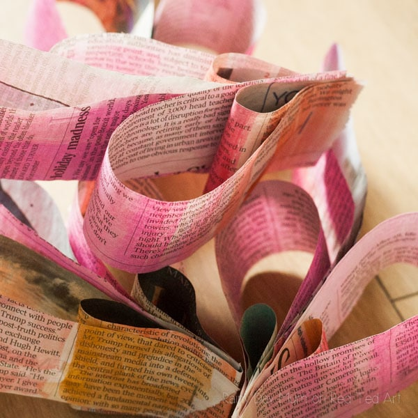 3D Painted Newspaper Heart Bunting-6