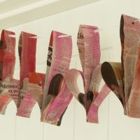 Painted Newspaper 3D Heart Bunting