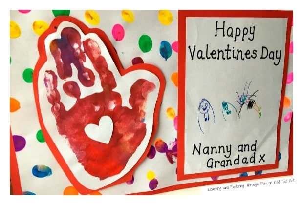 Try these Blowing a Kiss Handprint Cards for Valentines Day. Adorable Handmade Valentines Card fro toddlers to send to family.