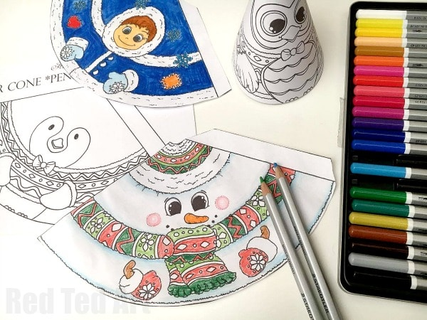 Adorable 3D Snowman coloring page for kids. An adorable Christmas Printable or Winter Printable for