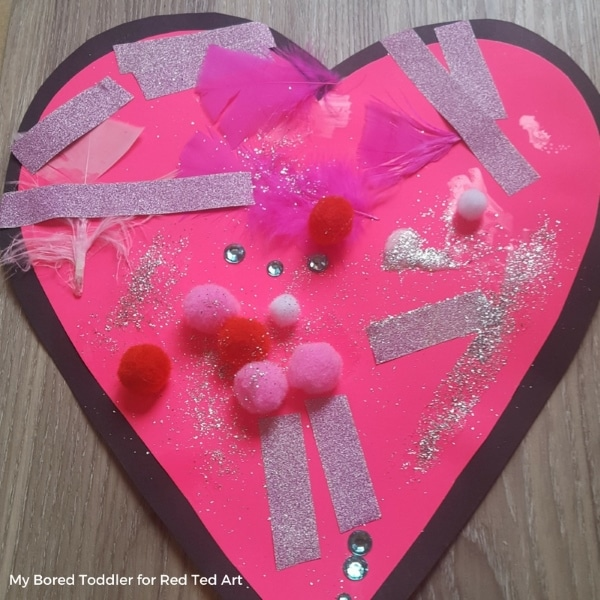 Collage Heart Cards for Toddlers Red Ted Arts Blog – Valentine Cards for Preschoolers