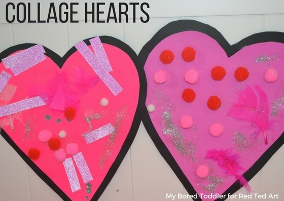Collage Heart Cards for Toddlers Red Ted Arts Blog – Valentine Card for Preschoolers