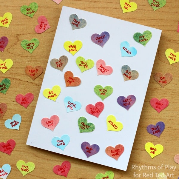 Conversation Heart Valentines Day Card. A cute and easy Valentines Day Card for kids to make. Great to practice handwriting too. #valentinesday #valentines #conversationheart conversationhearts #hearts #cardmaking #diycards #valentinesdaycards #valentinescard