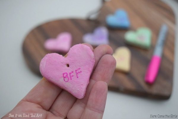 DIY Conversation Heart Necklace - how to make salt dough valentines day gifts for kids. Easy Conversation Heart Craft for kids