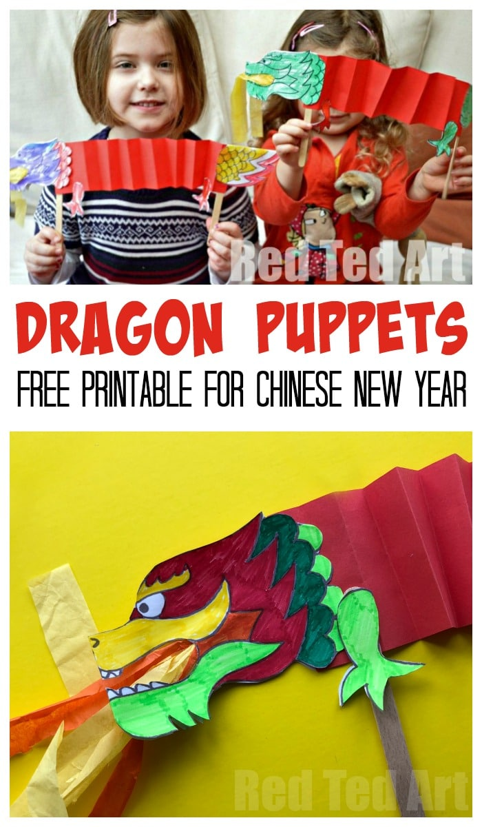 Dragon Puppet Printable. Super easy and fun Paper Dragon Puppets for Chinese New Year! A great Paper Chinese New Year craft for preschoolers. Love these gorgeous paper dragon puppets. #dragon #dragoncrafts #kids #preschool #chinesenewyear
