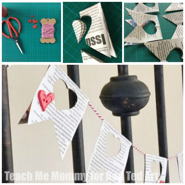 Newspaper Heart Garland - a great way to upcycle newspapers and create some lovely room decor. Make this newspaper DIY for valentine's day or just because!