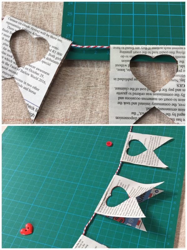 Newspaper Craft Ideas - here is a wonderful newspaper heart garland - perfect room decor and wonderful as a Valentines Decoration too! We love Newspaper Garlands!!