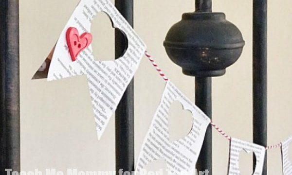 Newspaper Heart Garland for Valentine