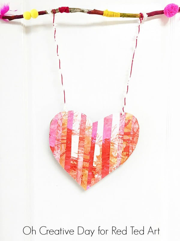 Process Art Heart Wall Hanging Red Ted Art