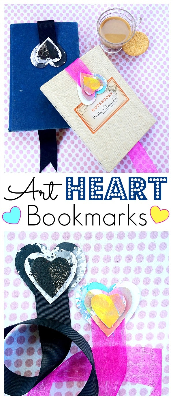 Recycled Heart Bookmarks - how to make a Valentine's Day Bookmark with Kids. Adorable Non Candy Valentine's Day gift ideas for kids to make #valentines #bookmarks #hearts #gifts