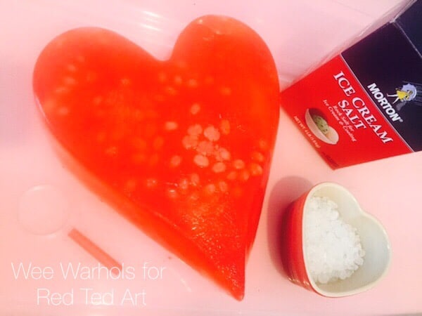 Easy STEAM Valentines Activity for Preschool - exploring salt & ice melting
