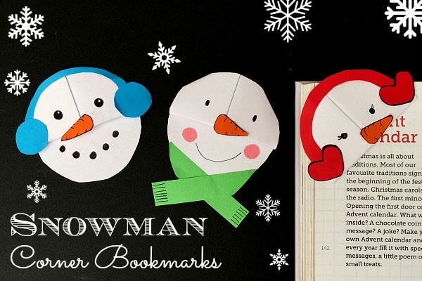 cute and easysnowman bookmark design perfect for snuggling down with your new christmas books