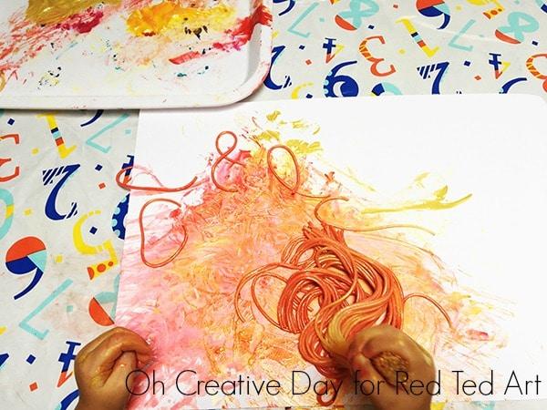 Spaghetti Painting process art