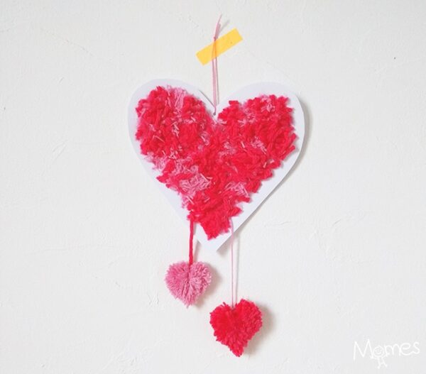 Easy Heart Pom Pom Decoration. Learn how to make Pom Poms using the Pom Pom Finger Making Method and make these adorable Hearts!