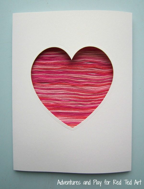 Yarn Heart Card for Valentines Red Ted Arts Blog – Valentine Heart Card