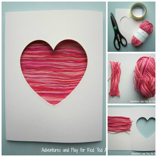 Yarn Heart Card DIY. Adorable Heart Card for Christmas or Valentine's Day. Love homemade cards. #heartcard #hearts #christmascards #valentinescards #cardmaking #cards #diy